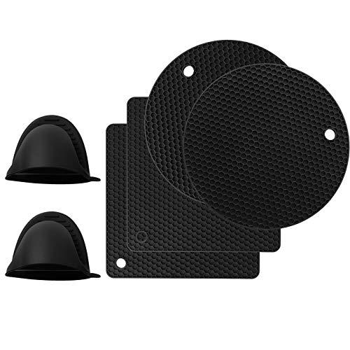 Herefun Silikon Topflappen 4er Topfuntersetzer 2er Silikon Handschuhe Pot, Topflappenhandschuhe, Topfuntersetzer Spülmaschinenfest Anti-Rutsch Design, Wabenmuster, Hitzebeständig bis 250°C