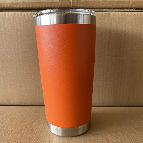 Xiaobing Taza de Coche de Color sólido rociado de plástico de 20OZ Taza de café de Acero Inoxidable de Doble Capa Taza de hielo-Naranja-20OZ / 590ML