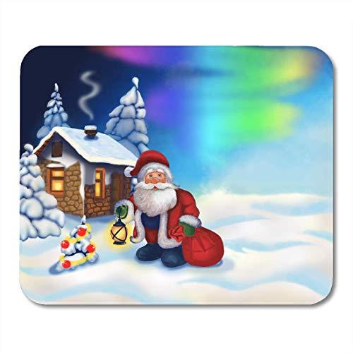 Mauspads Laterne Weihnachten Weihnachtsmann und kleines Haus Gnome Lichter Mauspad für Notebooks, Desktop-Computer Matten Büromaterial