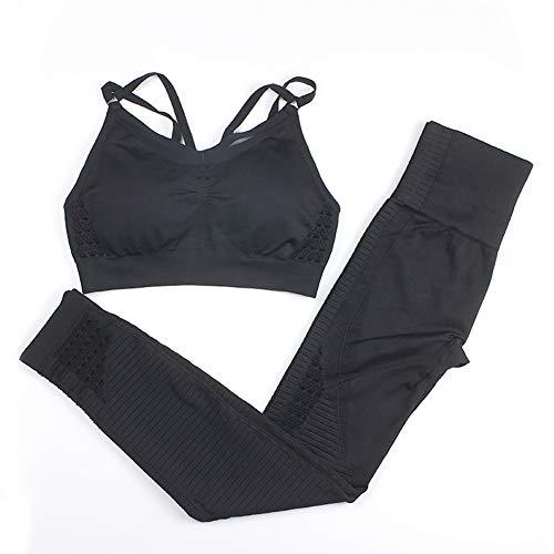 XIAMIMI Frauen-Sport-Set Sexy Yoga Set Patchwork Jogging Fitness Sport-BH + Yoga Hose S Sport Trainings-Kleidung Anzug,D,M