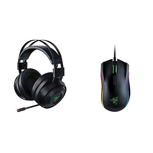 Razer Nari Ultimate Wireless 7.1 Surround Sound Gaming Headset - Black & Mamba Elite Wired Gaming Mouse: 16,000 DPI Optical Sensor - Chroma RGB Lighting - 9 Programmable Buttons