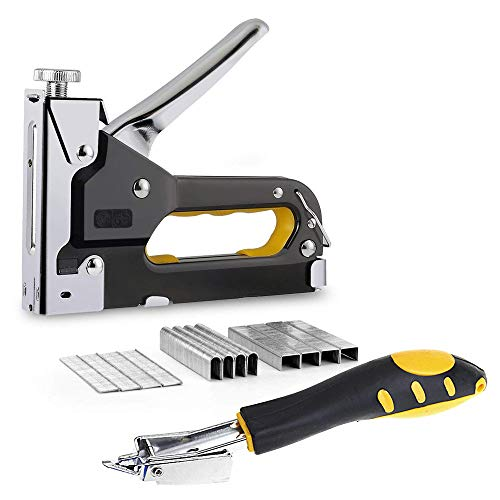 Amy 3 in 1 Heavy Duty Staple Gun with Staple Remover Tack Lifter, Hand Operated Stainless Steel Stapler Brad Nail Gun, Furniture Stapler, Upholstery Gun, 900 Staples Attached, Black