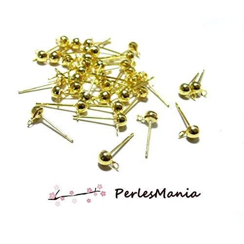Perlesmania.com 121228202218G Pax - 20 soportes para pendientes con forma de chip de 5 mm con enganche dorado