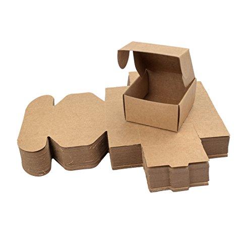 Surui Kraft Geschenkboxen 50 Stück Geschenkschachtel Kraftpapier Faltschachtel Geeignet Geschenkverpackung für Kekse Hochzeit Party Geschenke Cupcake Bonboniere Gastgeschenk Box Hochzeit M