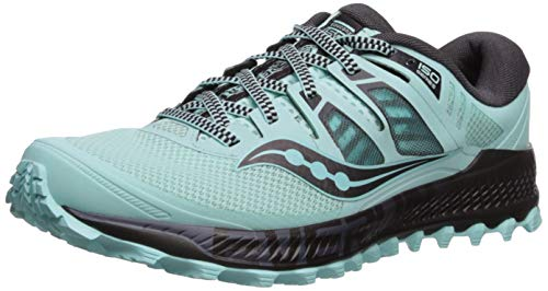 Saucony Women's Peregrine ISO Trail Running Shoe, Aqua/Grey, 5 M US