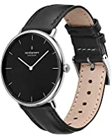 Nordgreen Native Scandinavian 32mm Silver Women's Analog Watch with Black Dial and Black Leather Strap 15117