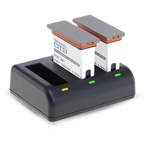 Mertrado - Caricatore 3 in 1 + 2 batterie per fotocamera DJI Osmo Action Camera di ricambio compatibile con AB1 Li-Ion