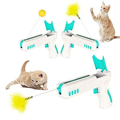 YML Interactive Cat Toys for Indoor Cats,Cat Feather Toys Cat Funny Stick and Rebound Gun Toys for Kitten Cat Teaser Wand with Ball and Feather for Entertainment and Exercise,Blue