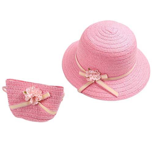 Sombrero de verano de ala ancha, sombrero de paja con sombrilla y bolso de hombro, sombrero de niña con bolso con cremallera, sombrero de paja, sombrero de paja con lazo de flores