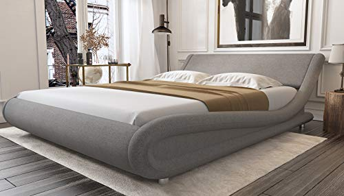 Amolife Full Platform Bed, Fabric Upholstered Full Bed Frame, Modern Full Size Mattress Foundation with headboard,Grey