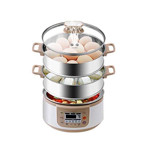 Groot-Capacity RVS 3-Layer Groentestomer for Timer Cooking, Smart Steamer Steamer, maken van gezonde maaltijden, rijst, vlees, eieren, groenten AQUILA1125