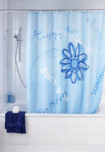 WENKO 20055100 Anti-Schimmel Duschvorhang Happy - Anti-Bakteriell, waschbar, mit 12 Duschvorhangringen, 100 % Polyester, Blau