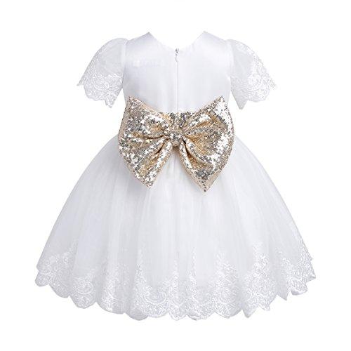 iiniim Baby Kleid Prinzessin Kleid Blumenmädchenkleid Baby mädchen Taufkleid Festlich Hochzeit Kleid Partykleid Gr.62-92 Weiß 62-68