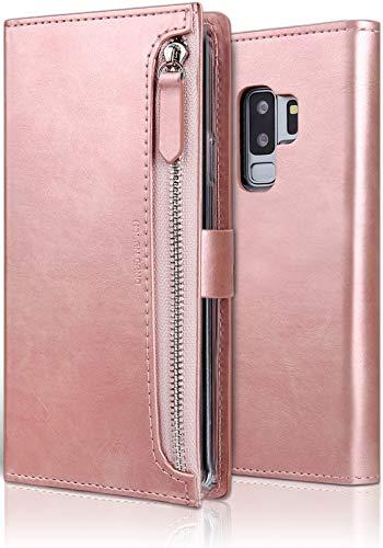 MOLAN CANO Handyhülle für Samsung Galaxy S9 Plus, Flip Leder HülleTasche Schutzhülle mit kartenfach & Magnetverschluss (Roségold)