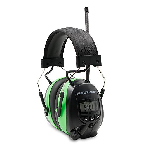 PROTEAR Protectores auditivos con radio y Bluetooth 5.0, radio digital FM/AM y micrófono incorporado, orejeras recargables, protección de ruido para el trabajo e industrial, SNR 30dB