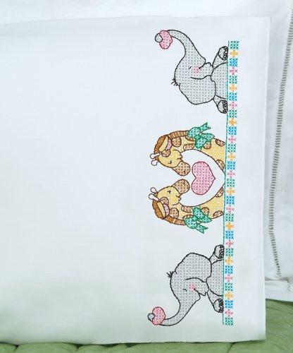 Jack Dempsey Mélange de Coton pour Enfants Embouti Taie d'oreiller avec Blanc Perle Arche de Edge-Noah
