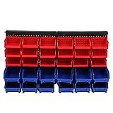 Wandmontage Lagerplätze Teile Rack, 30 Stück Organizer mit Panel-Set für Garage Werkstatt Lagersystem (rot, blau)