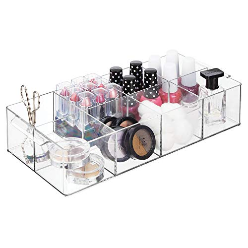 mDesign - Make-up organizer - cosmetica-organizer - voor nagellak, lippenstift en meer - voor op de kaptafel of ladekast - met 8 compartimenten/praktisch - Doorzichtig