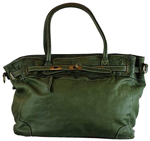 BZNA Bag Mila Grün verde vintage Italy Designer Business Damen Handtasche Ledertasche Schultertasche Tasche Leder Shopper Neu