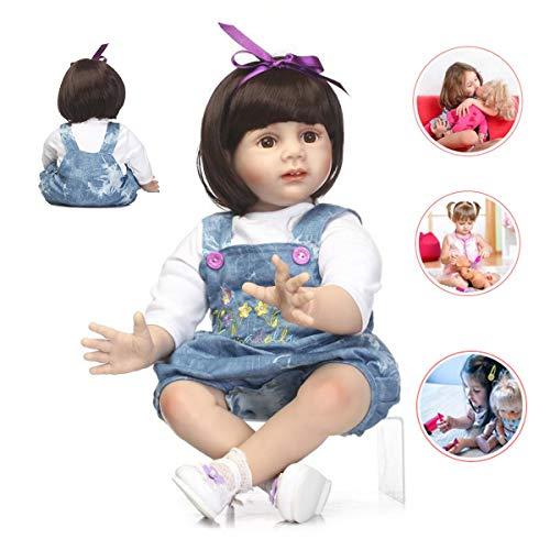 Toys 60 CM Reborn Muñeco,Suave Vinilo Realista Muñeca Suave 24 Inch Nacido Juguete Realista Niños Lindo Diseño Muñeca Nacida Chica Mejor Regalo De Cumpleaños para Niños Niñas