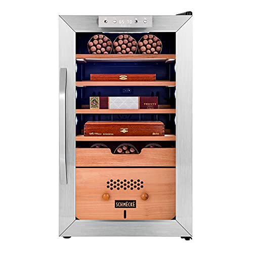 Schmécké 400 Cigar Cooler Humidor with 3 in 1 Precise Cooling, Heating & Humidity Control, Stainless Steel Trim Finish Cabinet, Spanish Cedar Wood Shelves and Drawer with Built in Digital Hygrometer