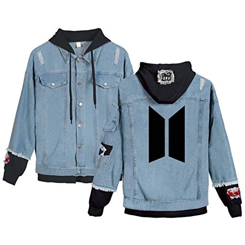 Flyself Unisex Kpop BTS Jeansjacke für Army BTS Bangtan Boys Langarm Hoodies Pullover Denim Jacket Denim Mantel Kapuzenpullover Suga Jin Jimin Jung Kook J-Hope Rap-Monster V
