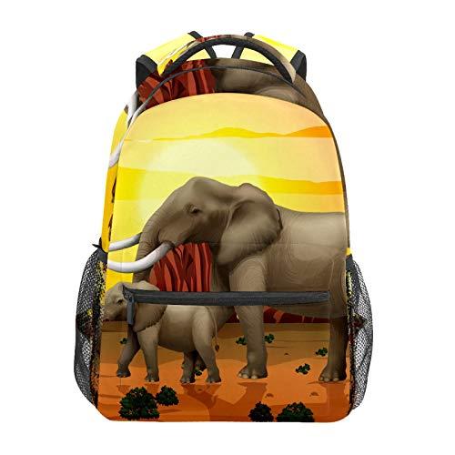 Mochila escolar con elefante, mamá y bebé, para caminar, casual, viaje, portátil, lona, para mujeres, niñas, niños, estudiantes, hombres y adultos.