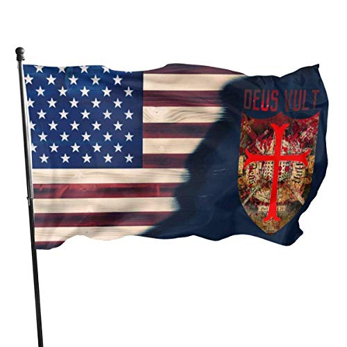 Gsixgoods Flagge Deus Vult Flags 3x5 Feet -Nylon Flags with Bright Vivid Color and Premium Material for Outdoor,Longest Lasting for Outside(Breeze Style)