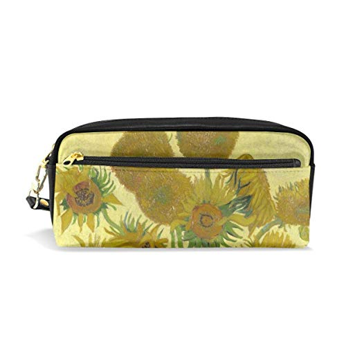 zhengchunleiX Van Gogh Sunflowers Mäppchen with Compartments for Grils Boys Pen Pencil Bag Pouch Holder Organizer Large Long Leather Zipper
