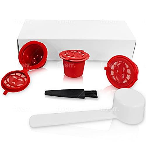 Capsulas reutilizables nespresso de color rojo-Capsulas nespresso reutilizables de plástico- Cafetera nespresso...