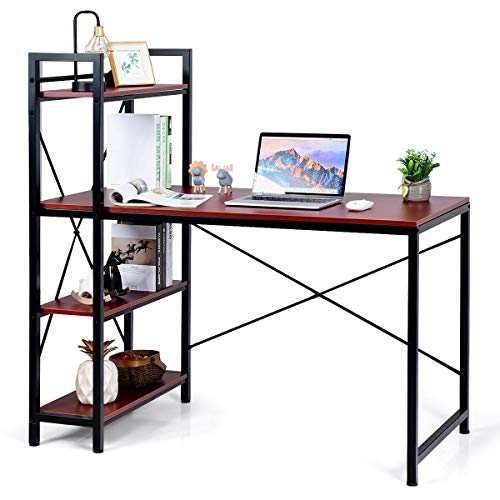 Tangkula Computer Desk with 4 Tier Shelves, Study Writing Table with Storage Bookshelves, Compact Home Office Workstation, 47.5' Tower Desk with Steel Frame & Adjustabe Feet Pad, Red Brown
