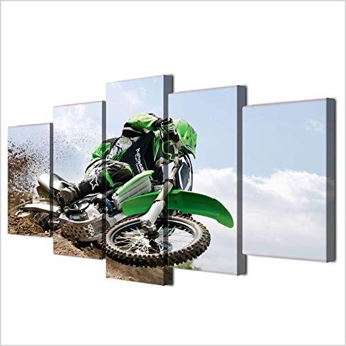 Gwgdjk Quadro Multipannello Di 5 Pannelli, Quadro Su Tela, Stampa Artistica, Canvas Tipo A, Moto Fuoristrada-40X60/80/100Cm,With Frame