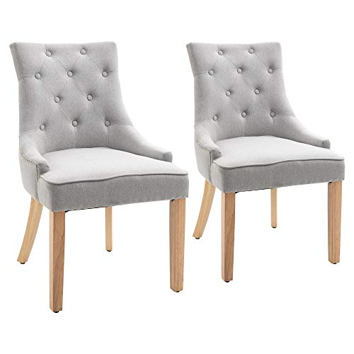 HOMCOM 2 Piece Fabric Dining Chairs Set, Leisure Padded Accent Chair with Armrest, Solid Wooden Legs, Light Grey