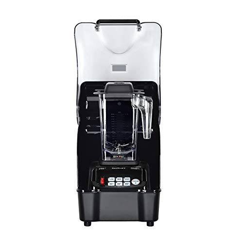 OmniBlend Omni-Q Commercial Blender with Full Sound Enclosure Shield, Quiet Heavy Duty 3-Speed, Self-Cleaning, Includes Multifunctional 2-in-1 Wet Dry Blades, 1.5 Liter Jar