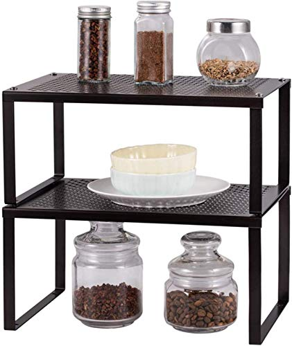 2-Pack Kitchen Shelf Organizer for Cabinet, Expandable and Stackable...