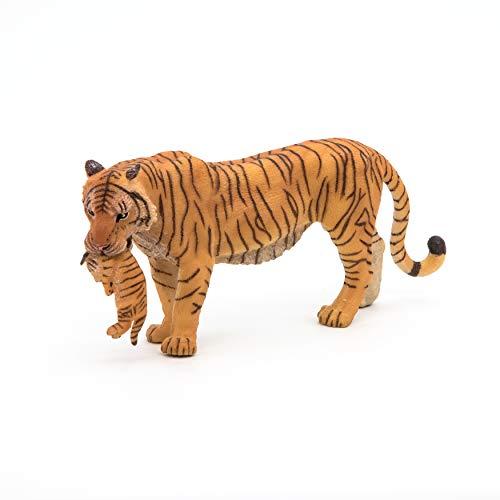 Papo 50118 Vilda djur från Världen tigerin med ungdjur, flerfärgade