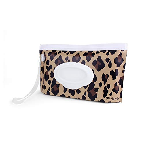 Itzy Ritzy Reusable Wipe Pouch – Take & Travel Pouch Holds Up To 30 Wet Wipes, Includes Silicone Wristlet Strap, Leopard