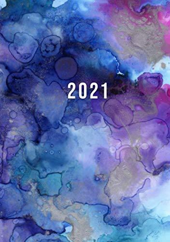 2021: Terminkalender mit Uhrzeiten 5 bis 23h Tag   1 Tag auf 1 Seite mit Zeiteinteilung   A5 Tagesplaner mit Zeit   Kalenderbuch Planer Organizer ... Jahresplaner   Soft-Cover Aquarell