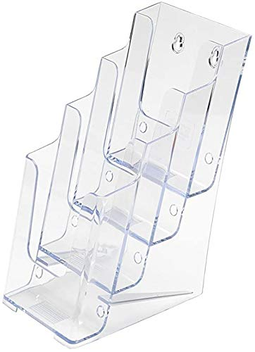 SOURCEONE.ORG Premium Brochures Holder for 4� Trifold Booklets � 4-Tier � Clear Acrylic Countertop Organizer