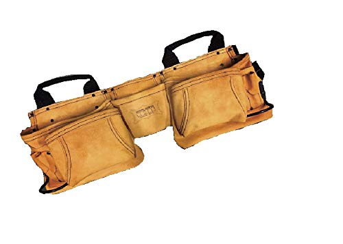ニックス(NIX) 最高級2×2ポケットレザーツールバック釘袋(ベルトー体型)スエード生地(キャラメル) KCA-9504