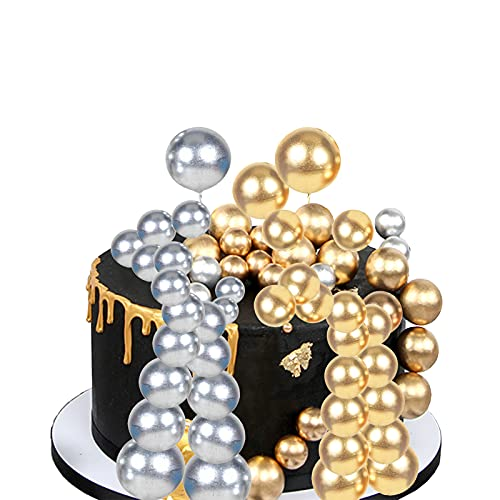Gold Silver Balls Shaped Paper Jam DIY Cake Insert Topper Card Gift Cup Cake Paper Toothpick Party Birthday Cake Decoration (16 pcs)