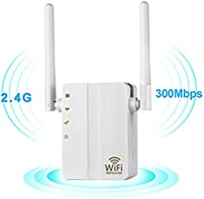WiFi Range Extender, 300Mbps Fast Speed WiFi Booster Wireless Repeater with High Gain Dual External Antennas and 360 Degree WiFi Coverage