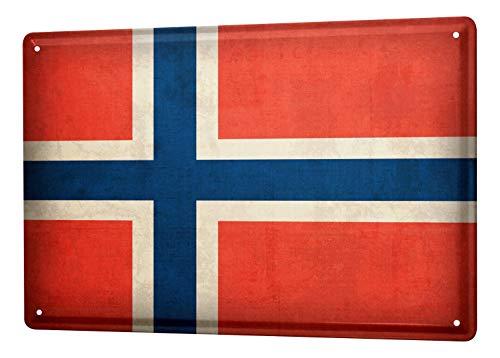 Blechschild Dekoschild Küche Garage Welt Reise Norwegen Flagge Wand Deko Schild 20X30 cm