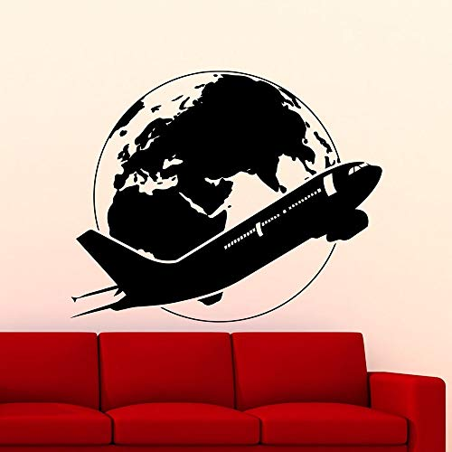 Etiqueta engomada de la Pared del avión Mundo avión Vinilo Ventana calcomanía Dormitorio Estudio agencia de Viajes decoración Interior 74x90cm