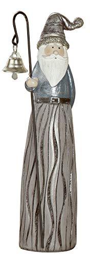 dekojohnson - kerstman decoratieve figuur grijze gouden petrol 26 cm groot - nostalgische decoratie Santa Clause Nikolaus rustiek
