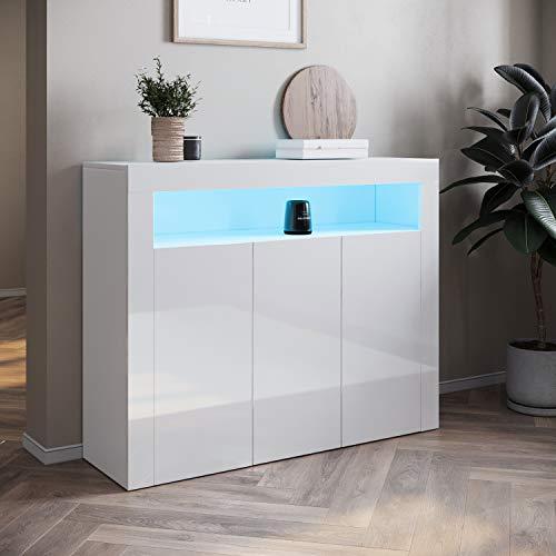SONNI Sideboard Weiss Hochglanz Wohnzimmer, LED Kommode(12 Farben können eingestellt Werden), Wohnzimmermöbel Wohnzimmerschrank Standschrank B116xH93xT35cm