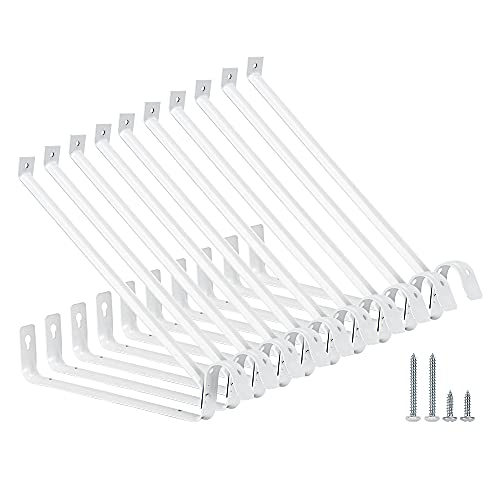Home Master Hardware Adjustable Shelf and Rod Support Bracket Wall Mounted Shelf Supports Brackets White 10 Pack