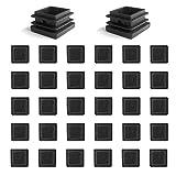 YouU 30 piezas Tapón de plástico cuadrado Mobiliario negro Silla de la pierna Pata del pie Tapa Tubo Insertos Tapa final (25x25 mm / 1''x1 ''), negro
