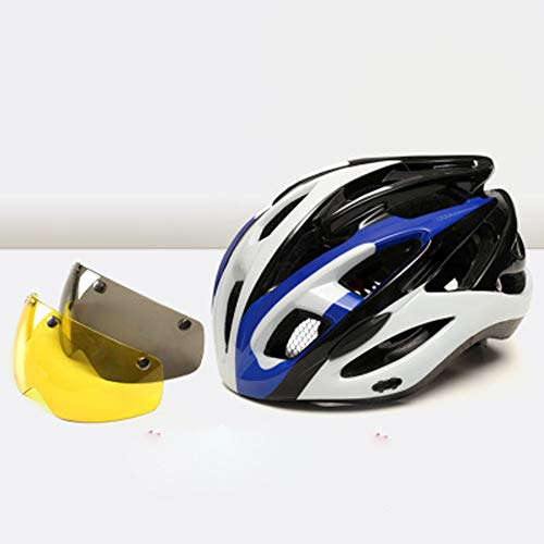 Bicycle Riding Helmet,Cycling helmet, goggles riding mountain bike helmet, road men and women riding sports helmet, equipped with custom bicycle helmet-purple-XL(61-64cm)