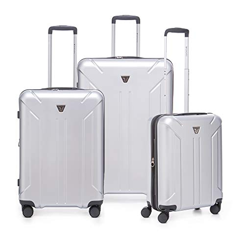 RONCATO Link - Juego de 3 maletas rígidas ampliables con toma USB plateada